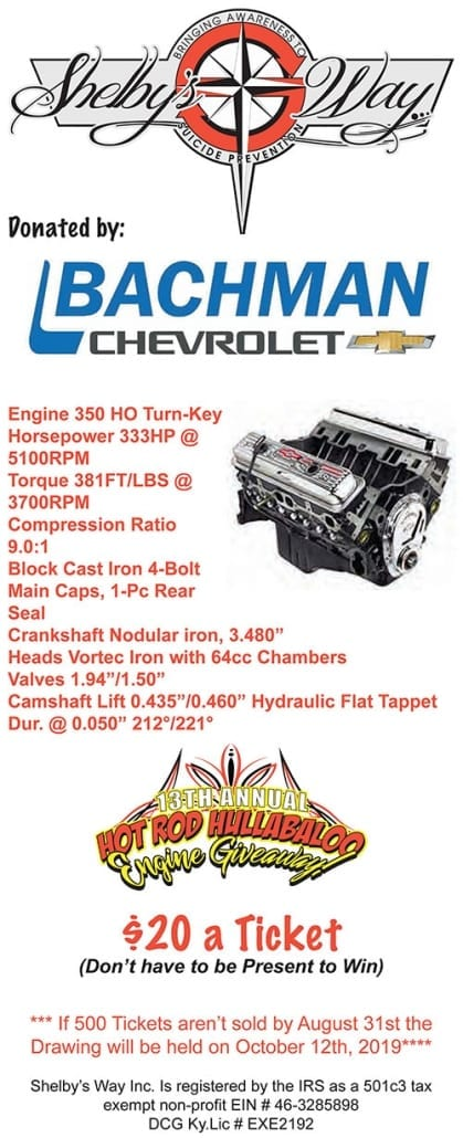 Chevy 350 Engine Giveaway Raffle | Shelby's Way